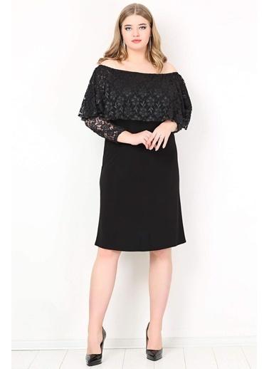Angelino Butik Büyük Beden Omzu Açık Mini Abiye Elbise KL779K Siyah